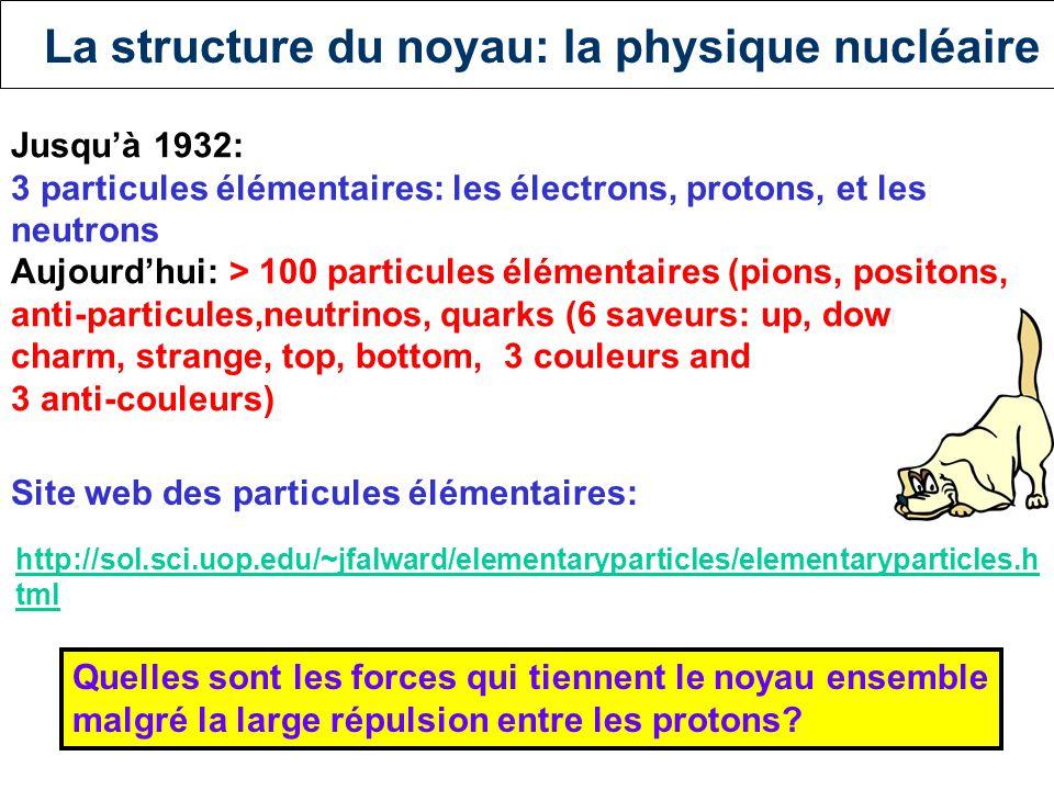 La structure du noyau: la physique nucléaire