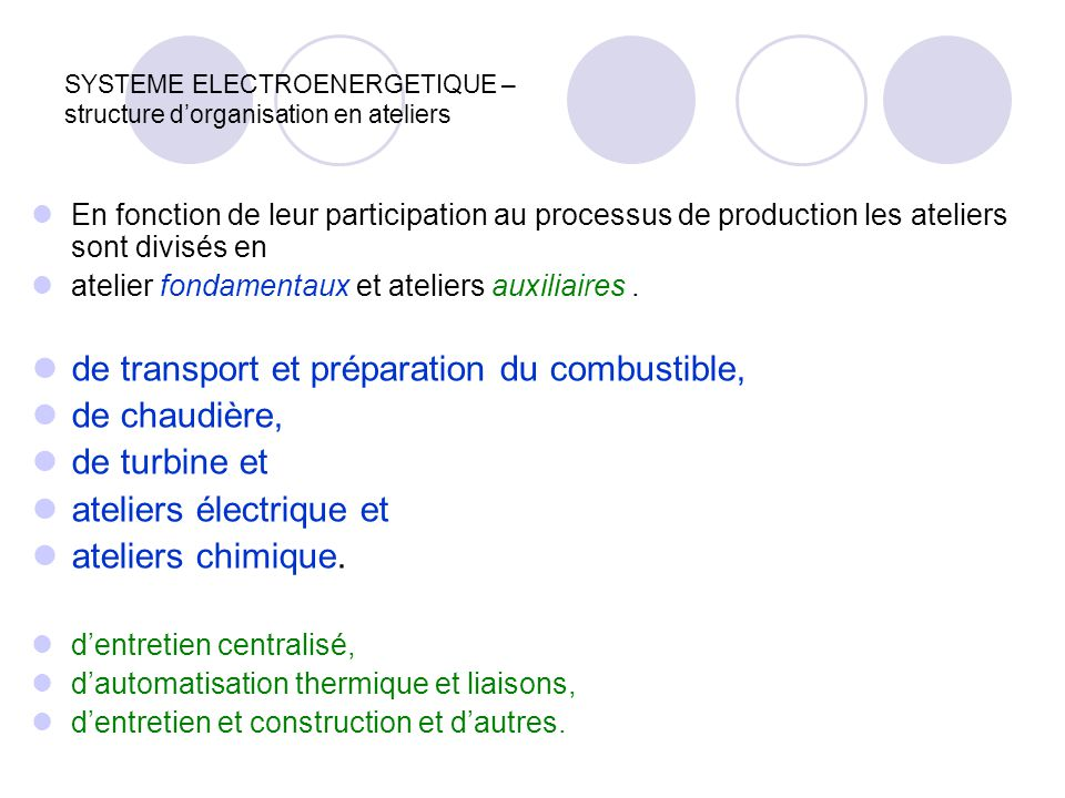 SYSTEME ELECTROENERGETIQUE – structure d'organisation en ateliers