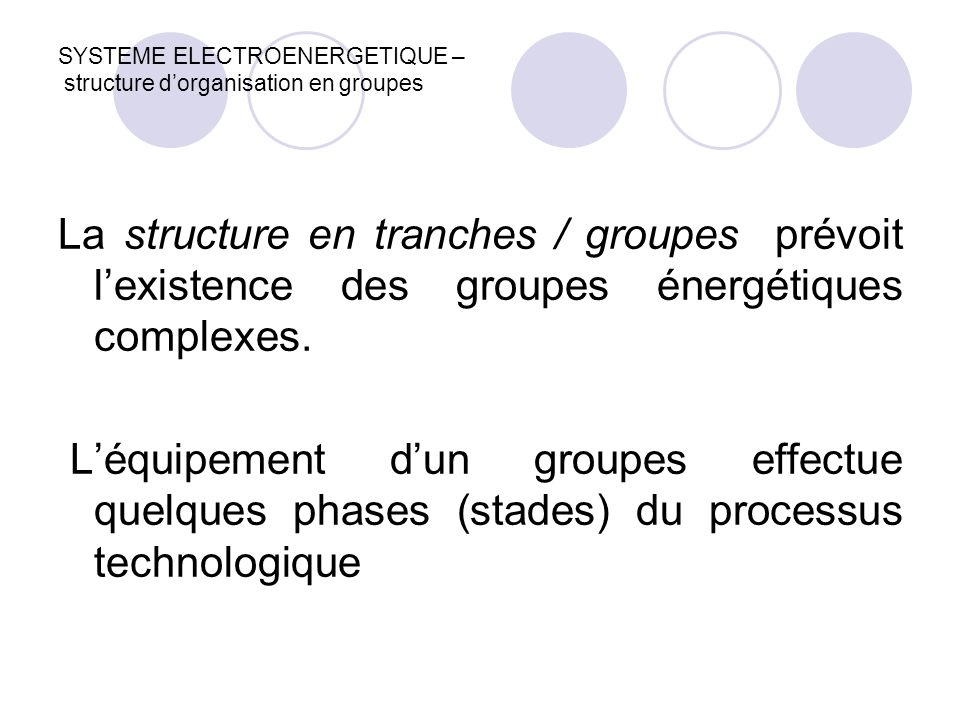 SYSTEME ELECTROENERGETIQUE – structure d'organisation en groupes