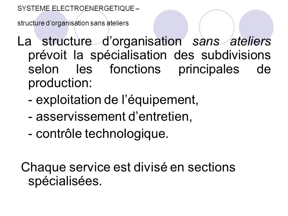 SYSTEME ELECTROENERGETIQUE – structure d'organisation sans ateliers