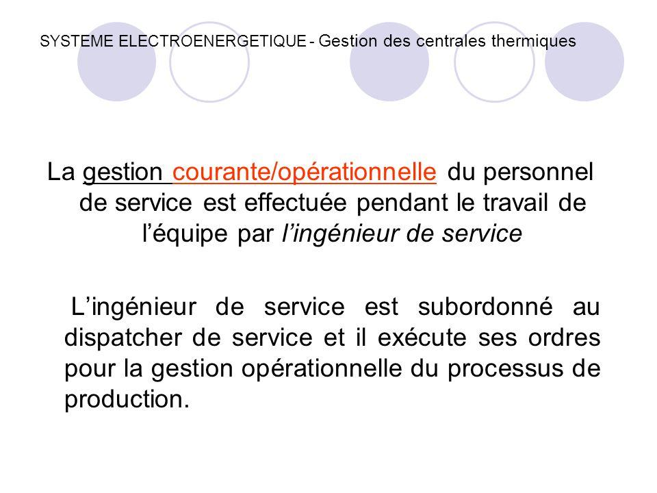 SYSTEME ELECTROENERGETIQUE - Gestion des centrales thermiques