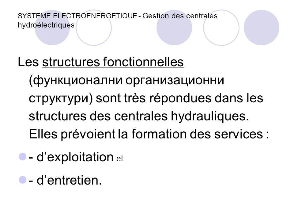 SYSTEME ELECTROENERGETIQUE - Gestion des centrales hydroélectriques