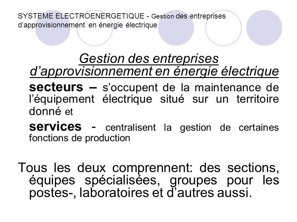 Gestion des entreprises d'approvisionnement en énergie électrique