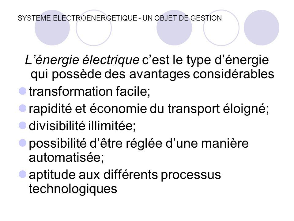 SYSTEME ELECTROENERGETIQUE - UN OBJET DE GESTION