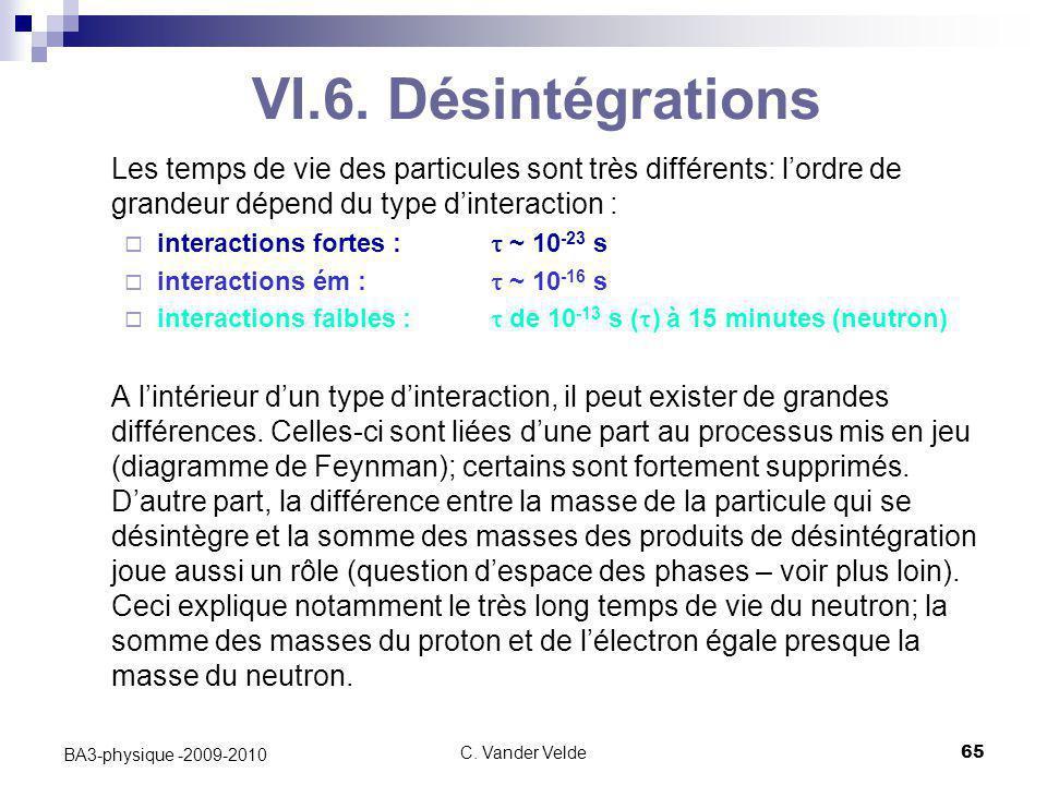 VI.6. Désintégrations Les temps de vie des particules sont très différents: l'ordre de grandeur dépend du type d'interaction :