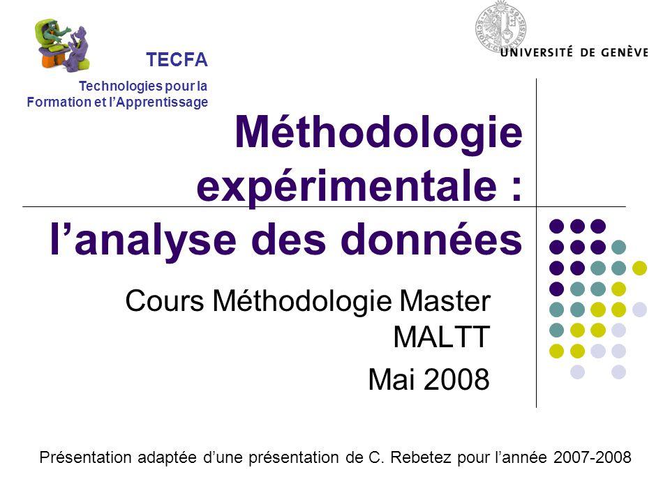 Méthodologie expérimentale : l'analyse des données