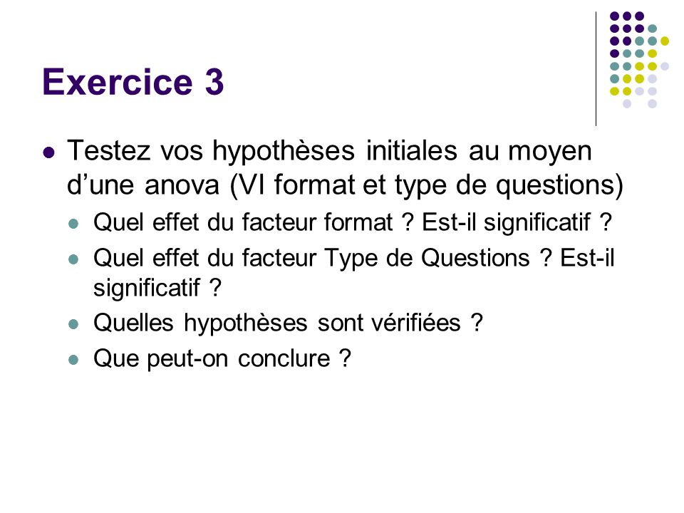 Exercice 3 Testez vos hypothèses initiales au moyen d'une anova (VI format et type de questions)