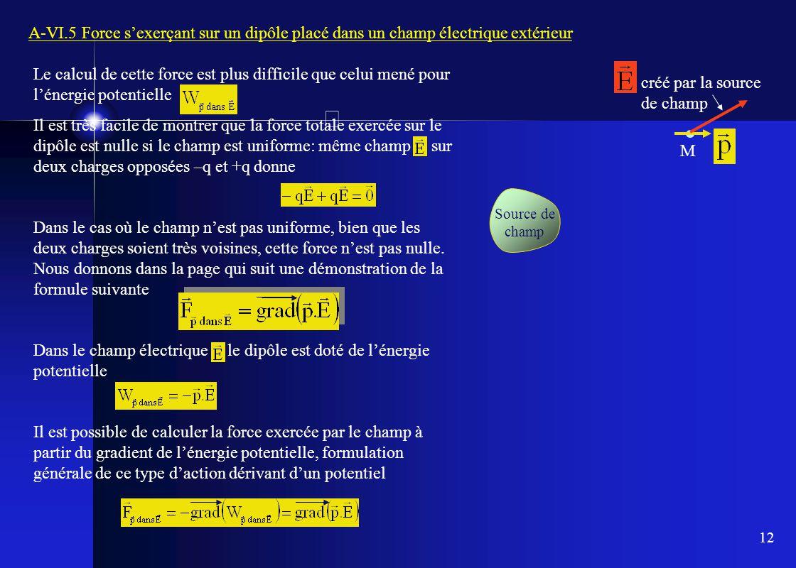Dans le champ électrique le dipôle est doté de l'énergie potentielle