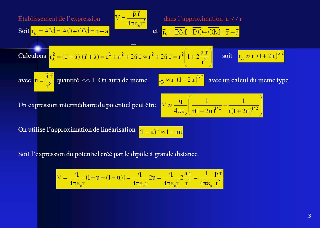 Établissement de l'expression dans l'approximation a << r