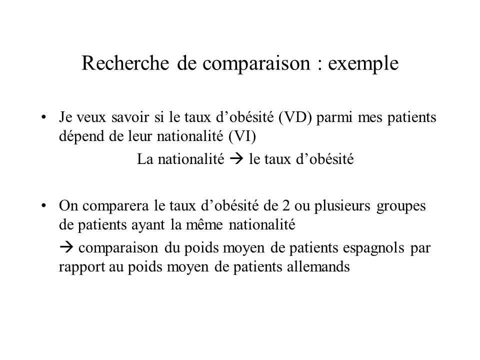 Recherche de comparaison : exemple