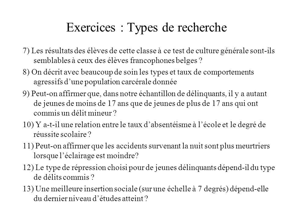 Exercices : Types de recherche