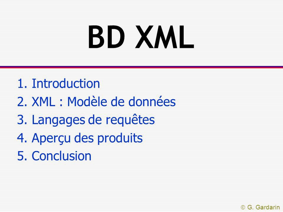 BD XML 1. Introduction 2. XML : Modèle de données