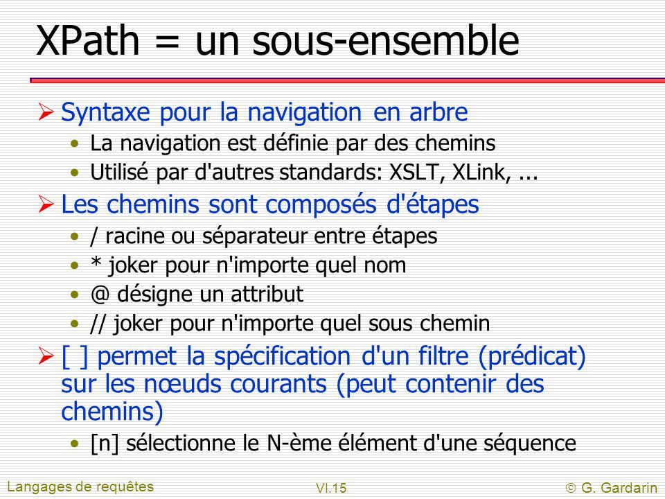 XPath = un sous-ensemble