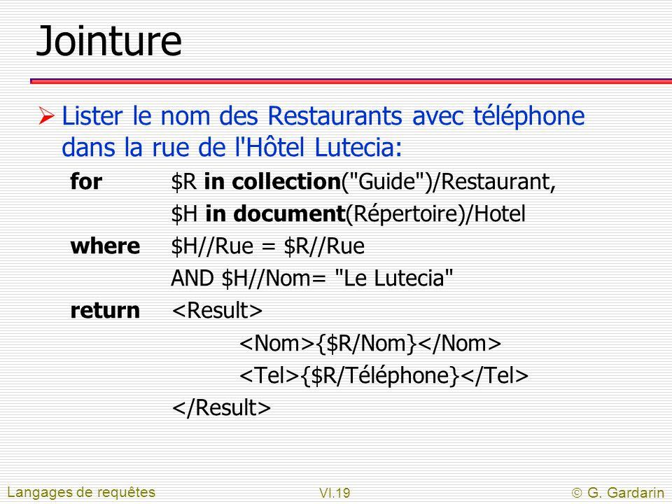 Jointure Lister le nom des Restaurants avec téléphone dans la rue de l Hôtel Lutecia: for $R in collection( Guide )/Restaurant,