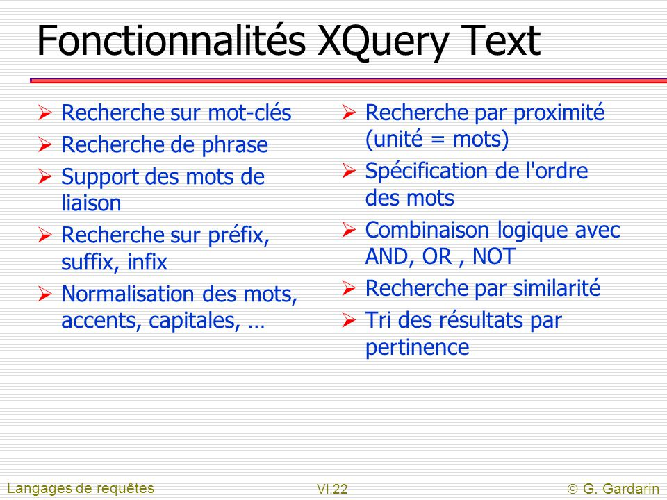 Fonctionnalités XQuery Text