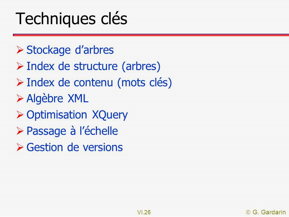 Techniques clés Stockage d'arbres Index de structure (arbres)