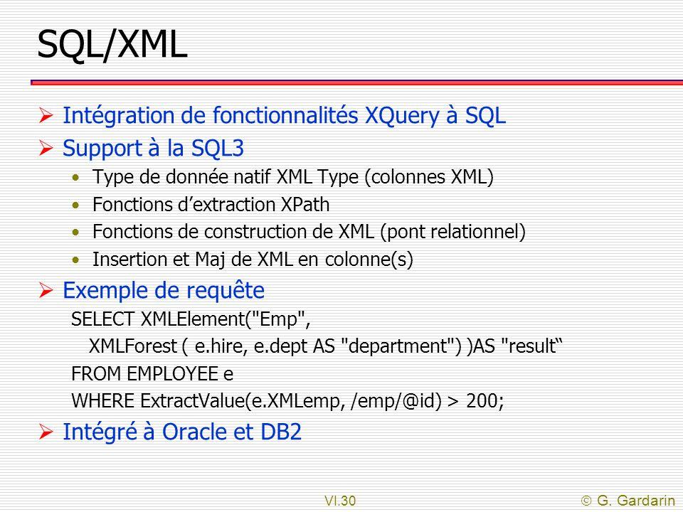 SQL/XML Intégration de fonctionnalités XQuery à SQL Support à la SQL3