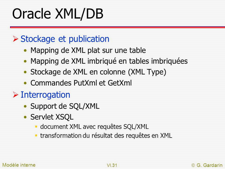 Oracle XML/DB Stockage et publication Interrogation