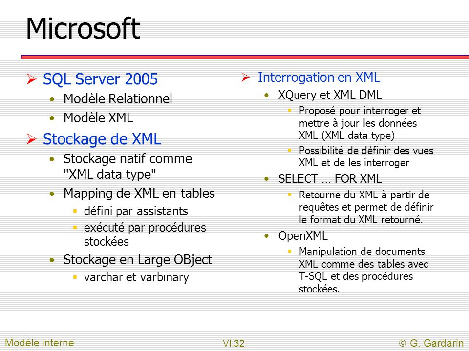 Microsoft SQL Server 2005 Stockage de XML Interrogation en XML