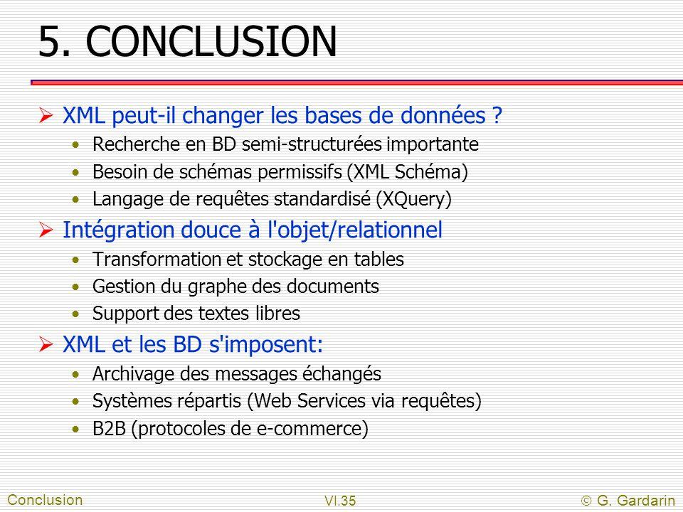 5. CONCLUSION XML peut-il changer les bases de données