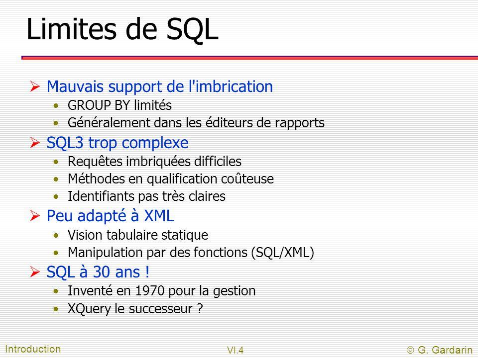 Limites de SQL Mauvais support de l imbrication SQL3 trop complexe