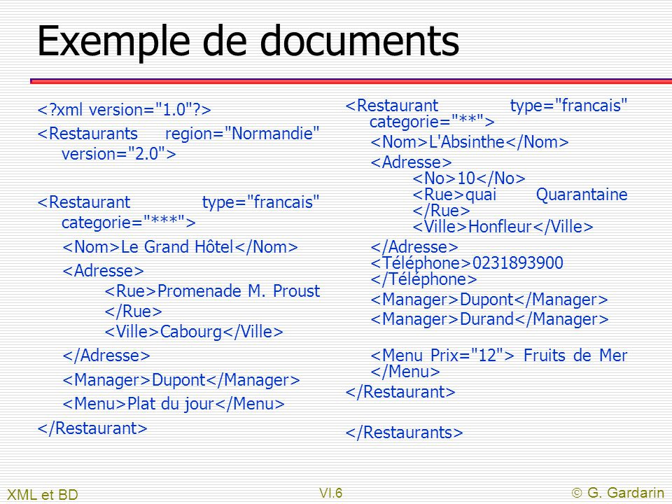 Exemple de documents < xml version= 1.0 >