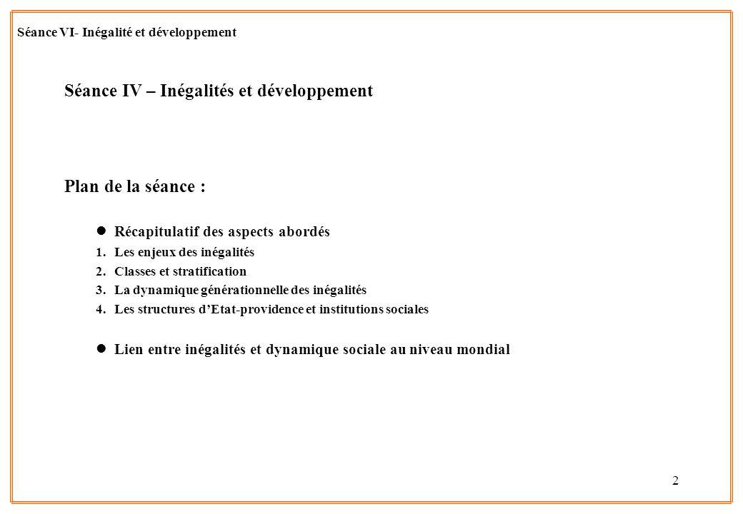 Séance IV – Inégalités et développement