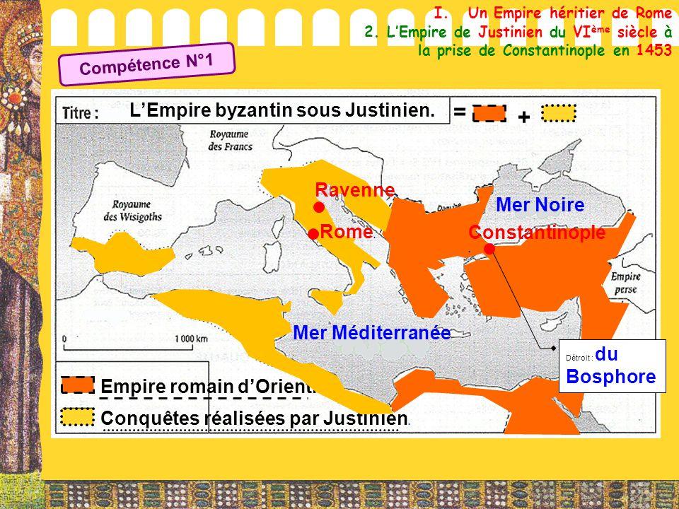 = + L'Empire byzantin sous Justinien. Ravenne. Mer Noire Rome.