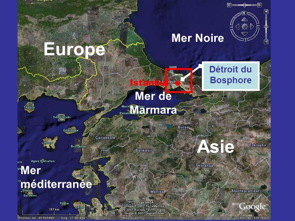 Europe Asie Mer Noire Mer de Marmara Mer méditerranée