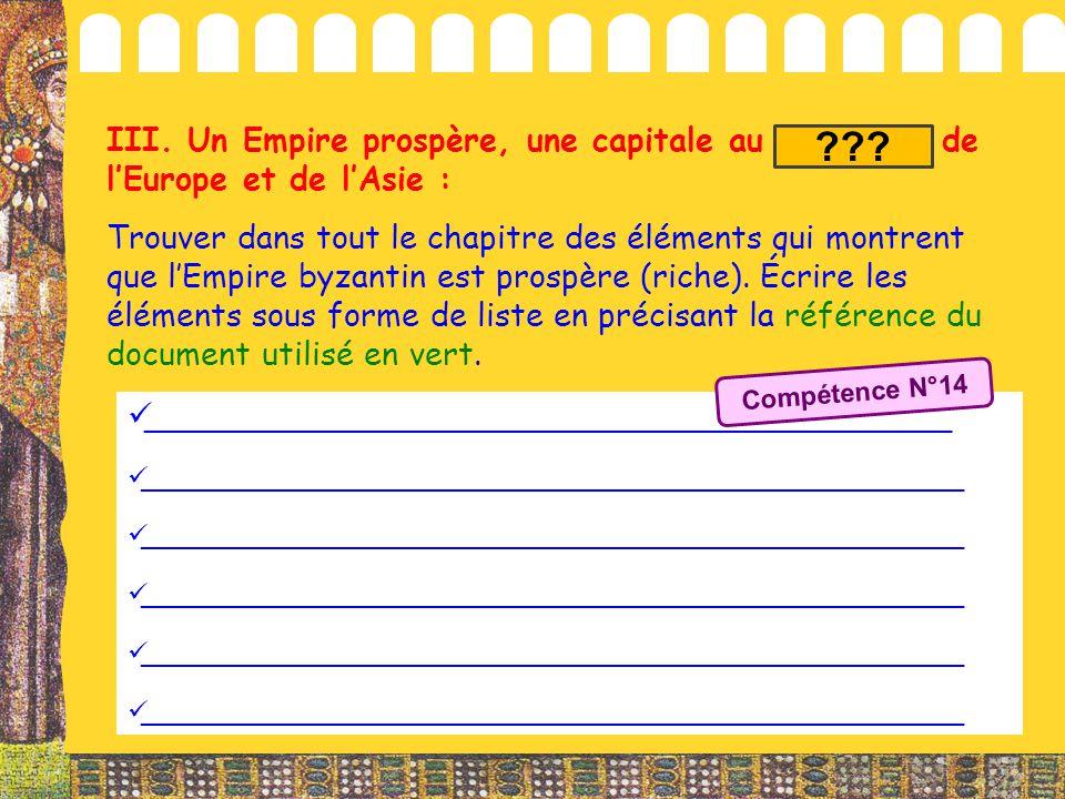 III. Un Empire prospère, une capitale au carrefour de l'Europe et de l'Asie :