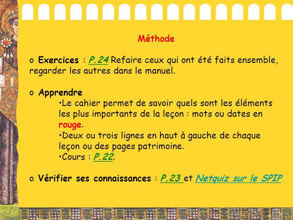 Méthode Exercices : P.24 Refaire ceux qui ont été faits ensemble, regarder les autres dans le manuel.