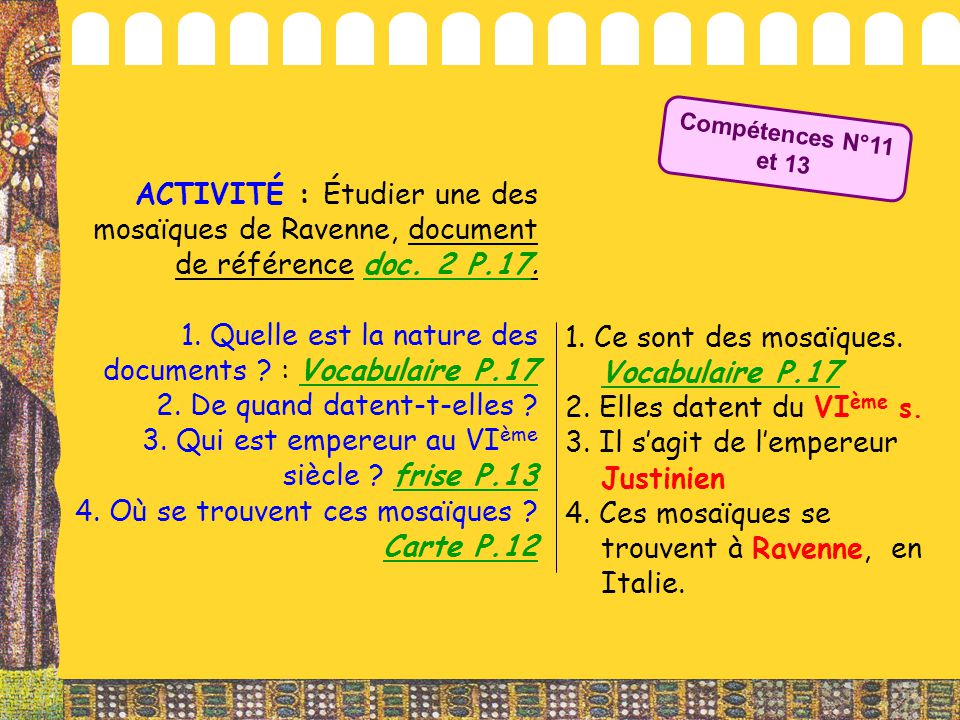 1. Quelle est la nature des documents : Vocabulaire P.17