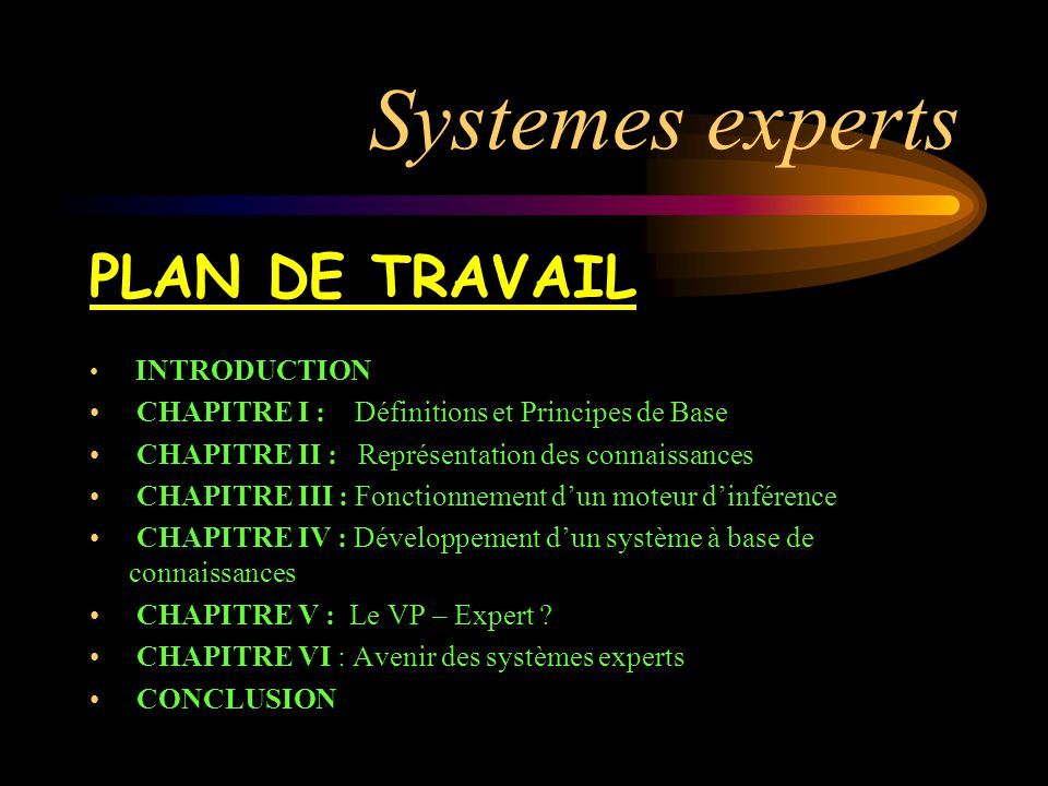 Systemes experts PLAN DE TRAVAIL