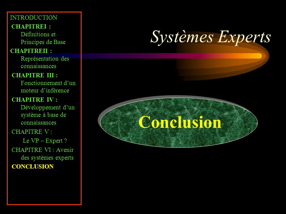 Systèmes Experts Conclusion INTRODUCTION