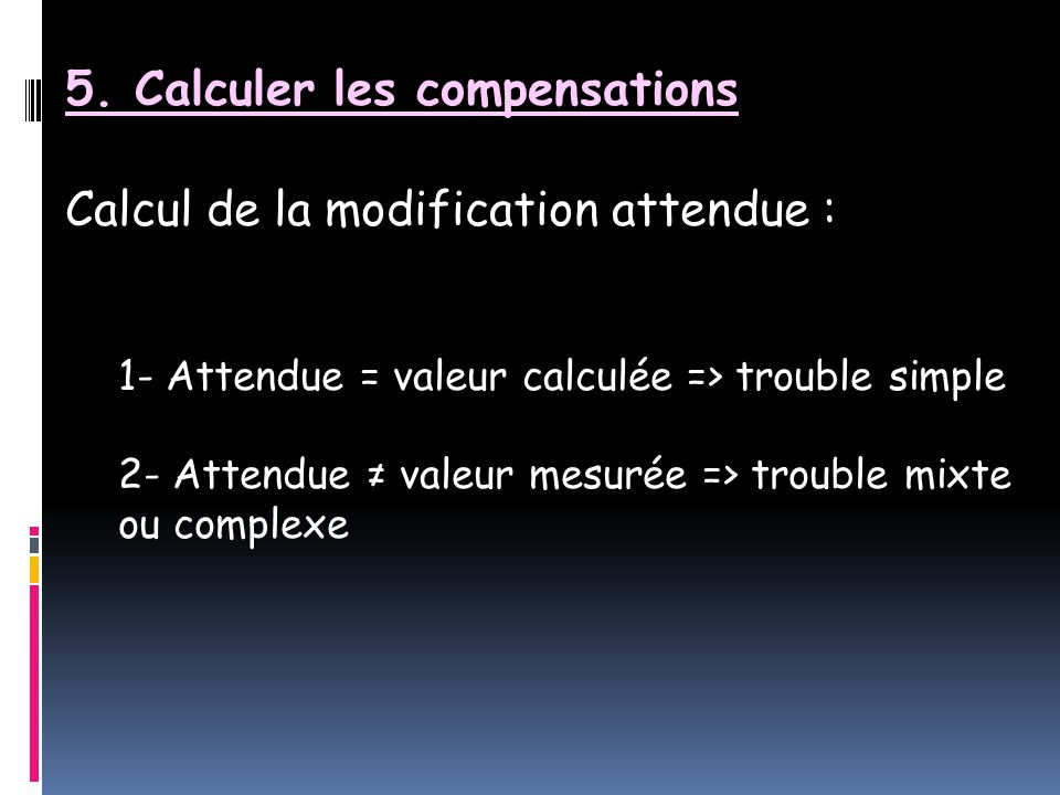 5. Calculer les compensations Calcul de la modification attendue :