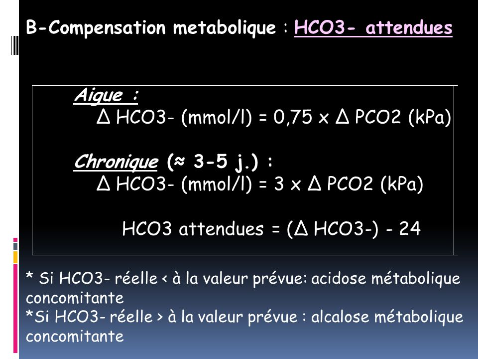 B-Compensation metabolique : HCO3- attendues