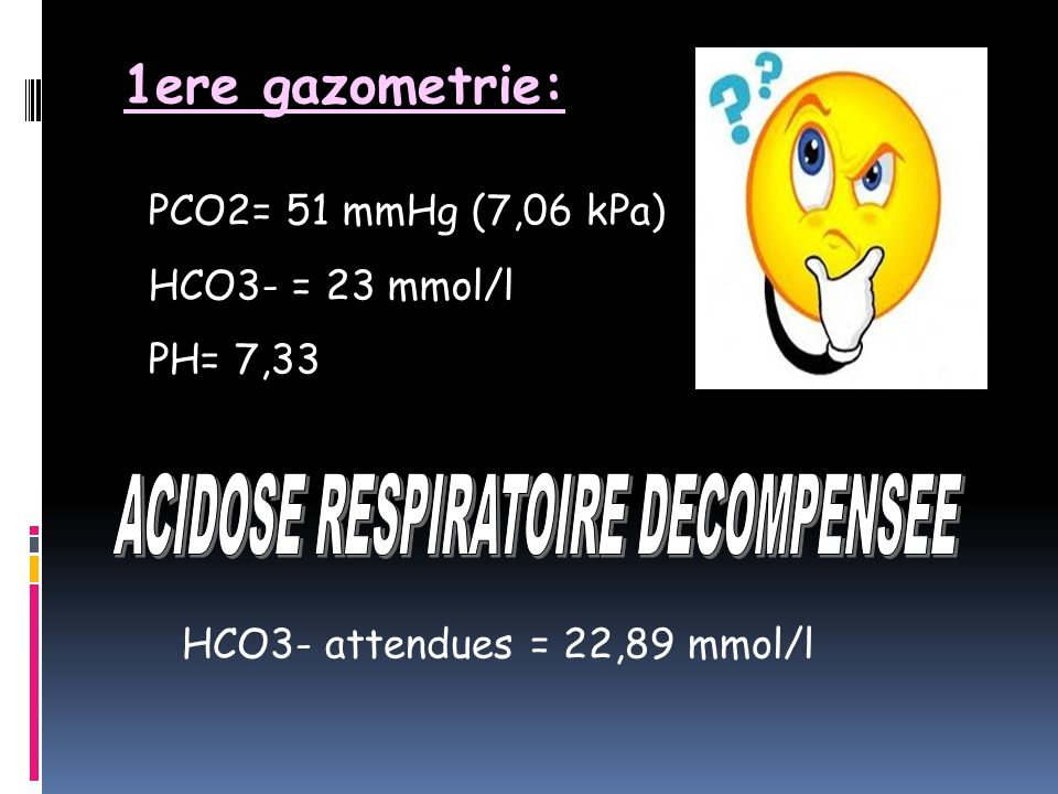 ACIDOSE RESPIRATOIRE DECOMPENSEE