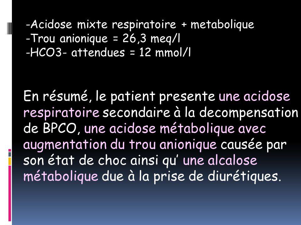 -Acidose mixte respiratoire + metabolique