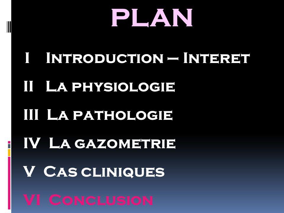 PLAN II La physiologie III La pathologie IV La gazometrie