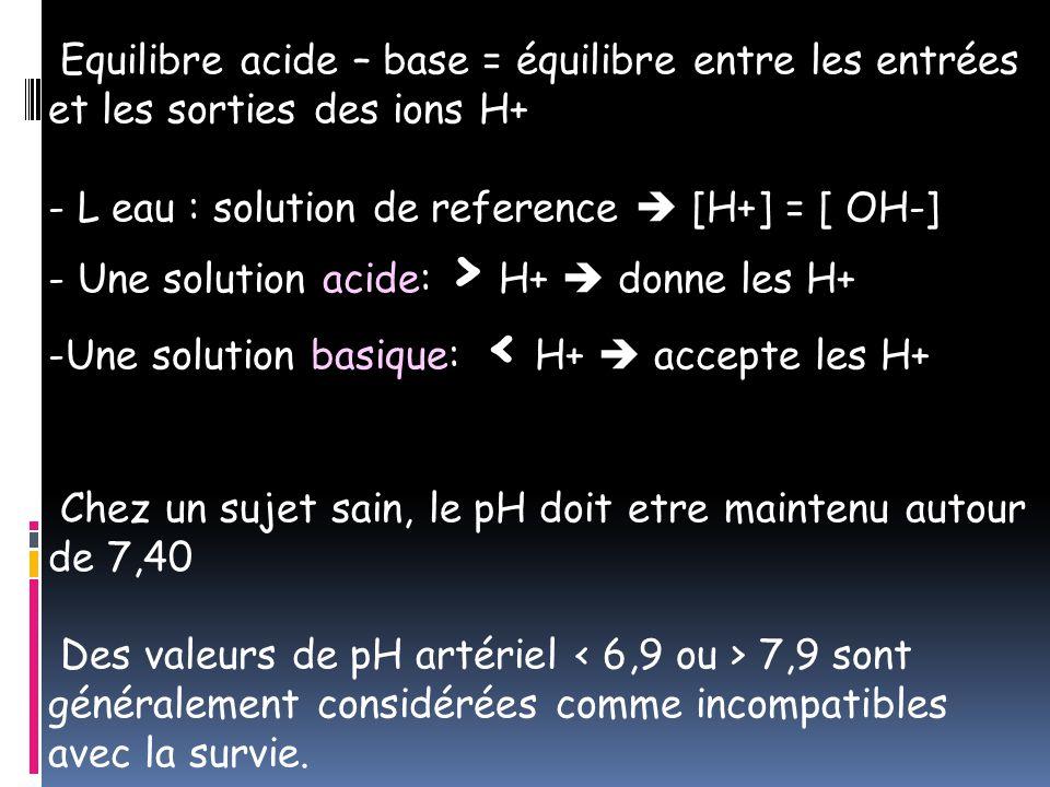 Equilibre acide – base = équilibre entre les entrées et les sorties des ions H+
