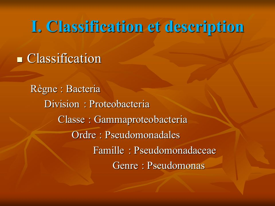 I. Classification et description