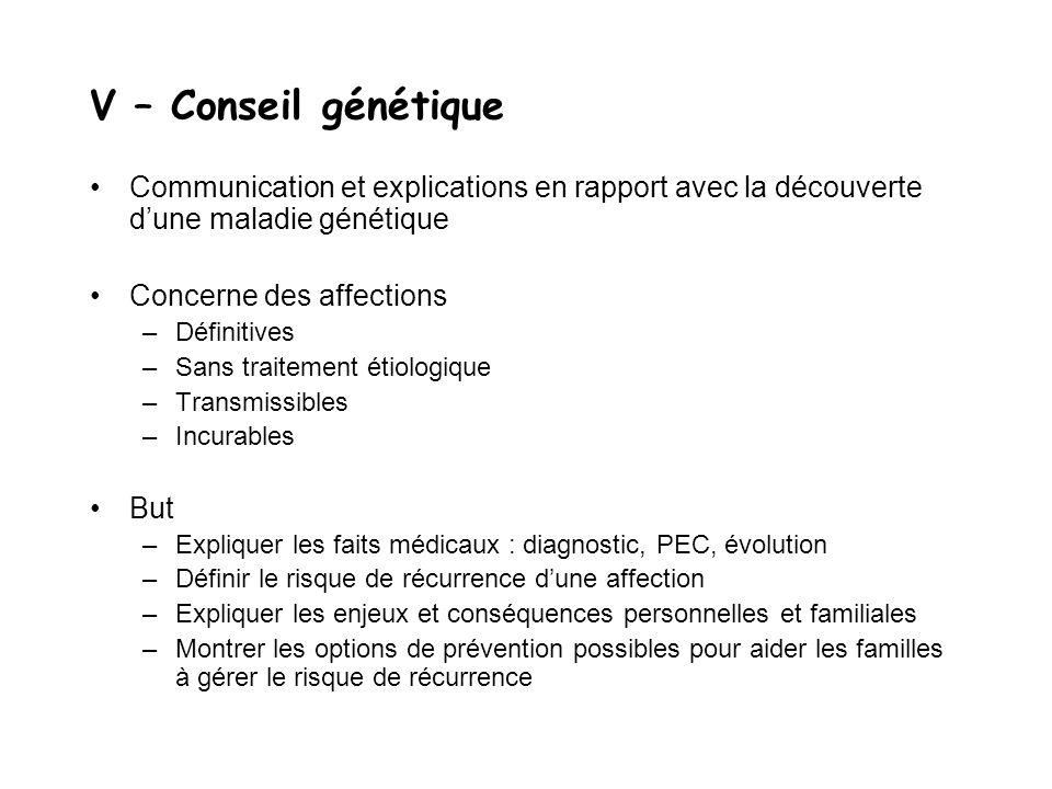 V – Conseil génétique Communication et explications en rapport avec la découverte d'une maladie génétique.