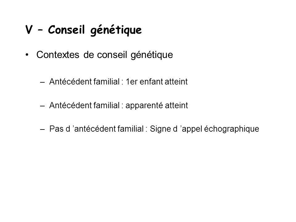 V – Conseil génétique Contextes de conseil génétique