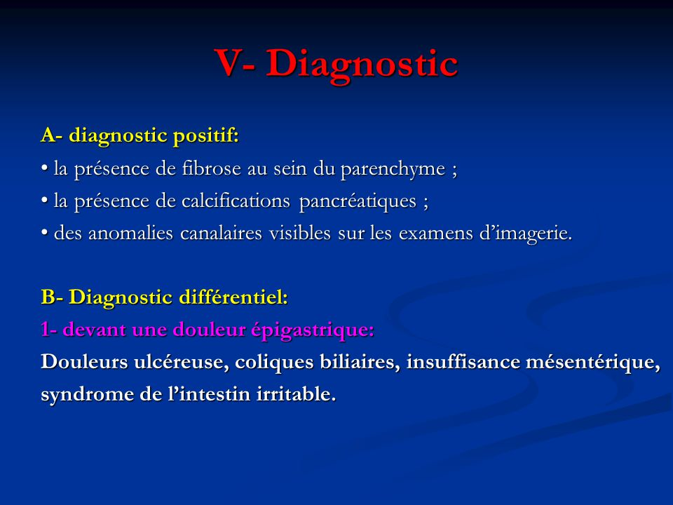 V- Diagnostic