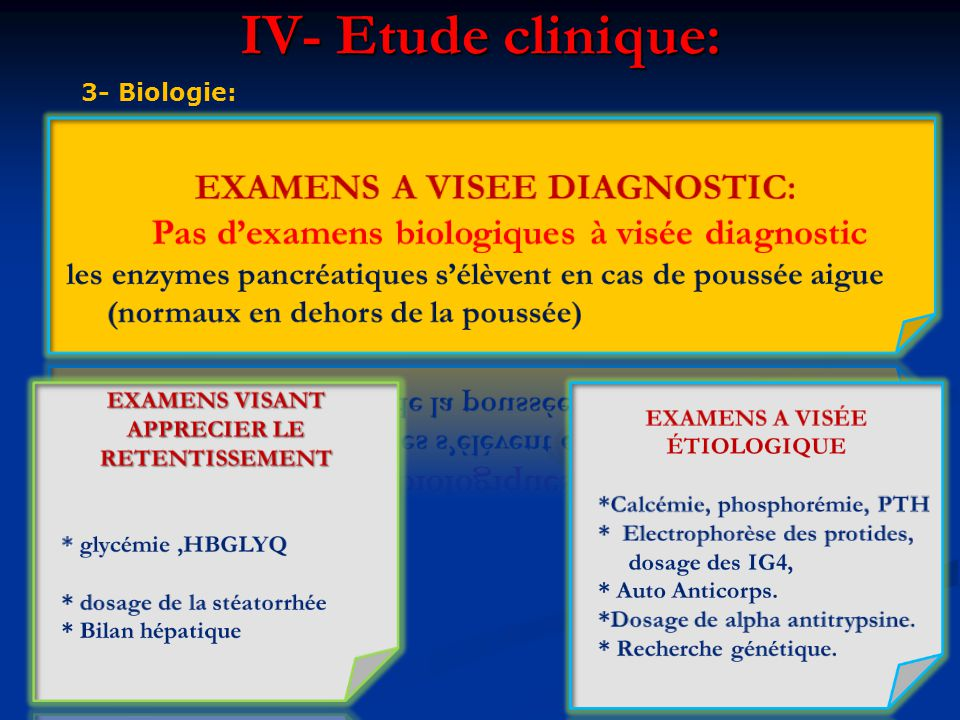 EXAMENS A VISEE DIAGNOSTIC: