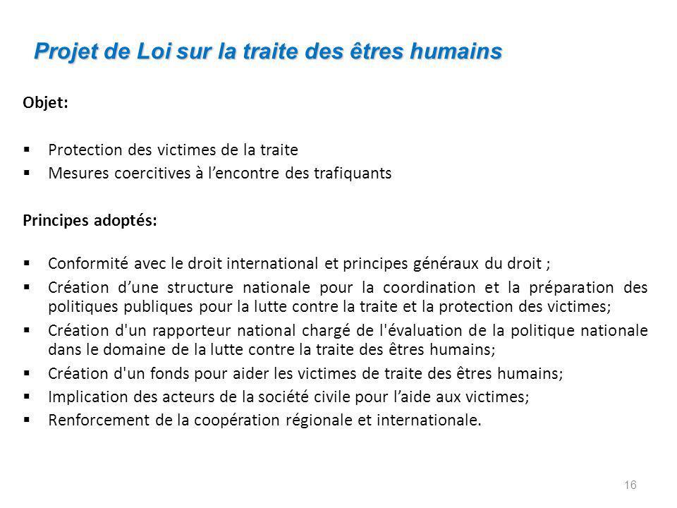 Projet de Loi sur la traite des êtres humains