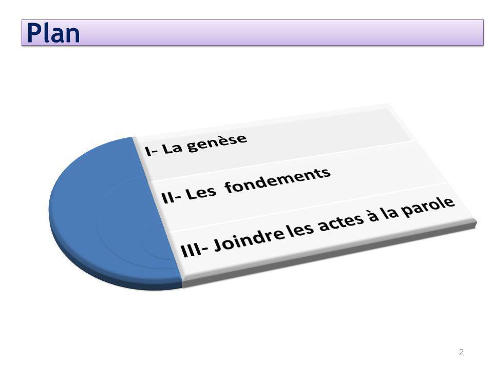 Plan I- La genèse II- Les fondements