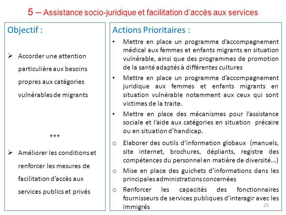 5 – Assistance socio-juridique et facilitation d'accès aux services