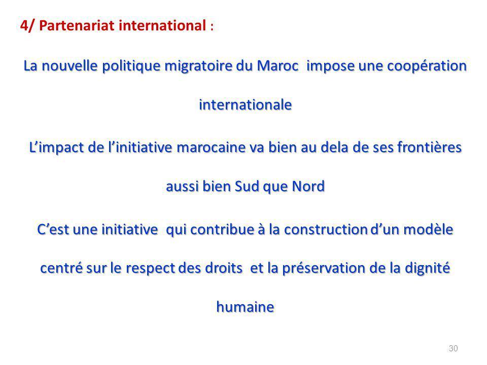 4/ Partenariat international : La nouvelle politique migratoire du Maroc impose une coopération internationale L'impact de l'initiative marocaine va bien au dela de ses frontières aussi bien Sud que Nord C'est une initiative qui contribue à la construction d'un modèle centré sur le respect des droits et la préservation de la dignité humaine