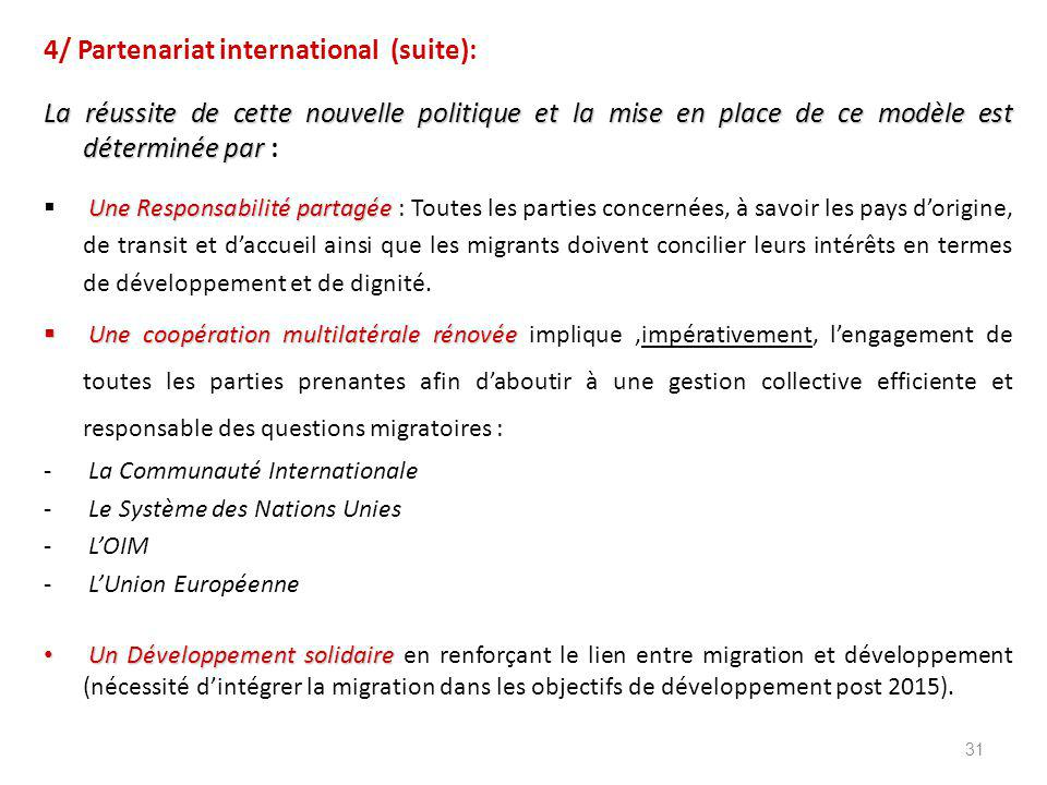 4/ Partenariat international (suite):